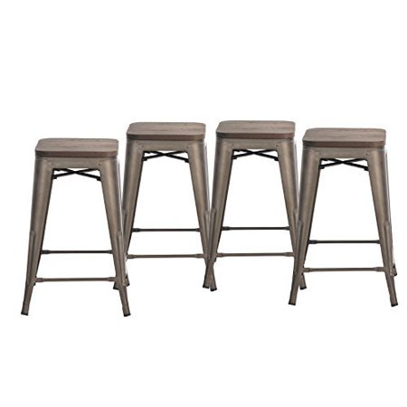 Groovy Buschman Set Of Four Bronze Wooden Seat 24 Inches Counter High Tolix Style Metal Bar Stools Indoor Outdoor Stackable Pabps2019 Chair Design Images Pabps2019Com