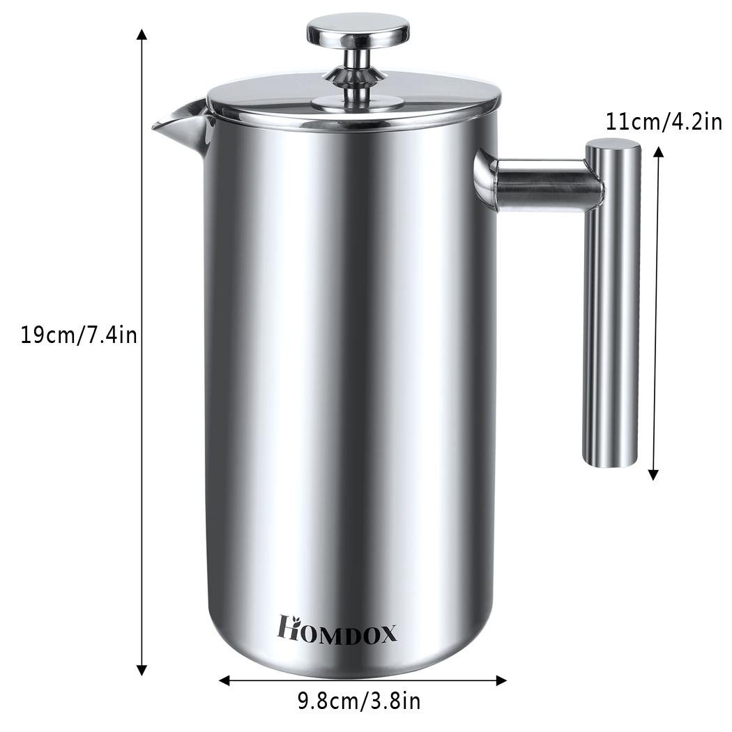 Double Wall Tea & Coffee Brewer Stainless Steel Press Coffee Pot Maker 1000ml