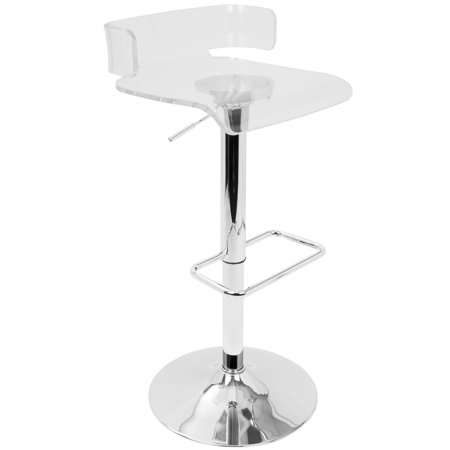 Pride Contemporary Adjustable Barstool in Clear Acrylic by LumiSource