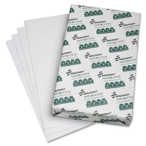 """SKILCRAFT Copy Paper - Legal - 8.50"""" x 14"""" - 20 lb Basis Weight - Recycled - 84 Brightness - 5000 / Carton - White"""
