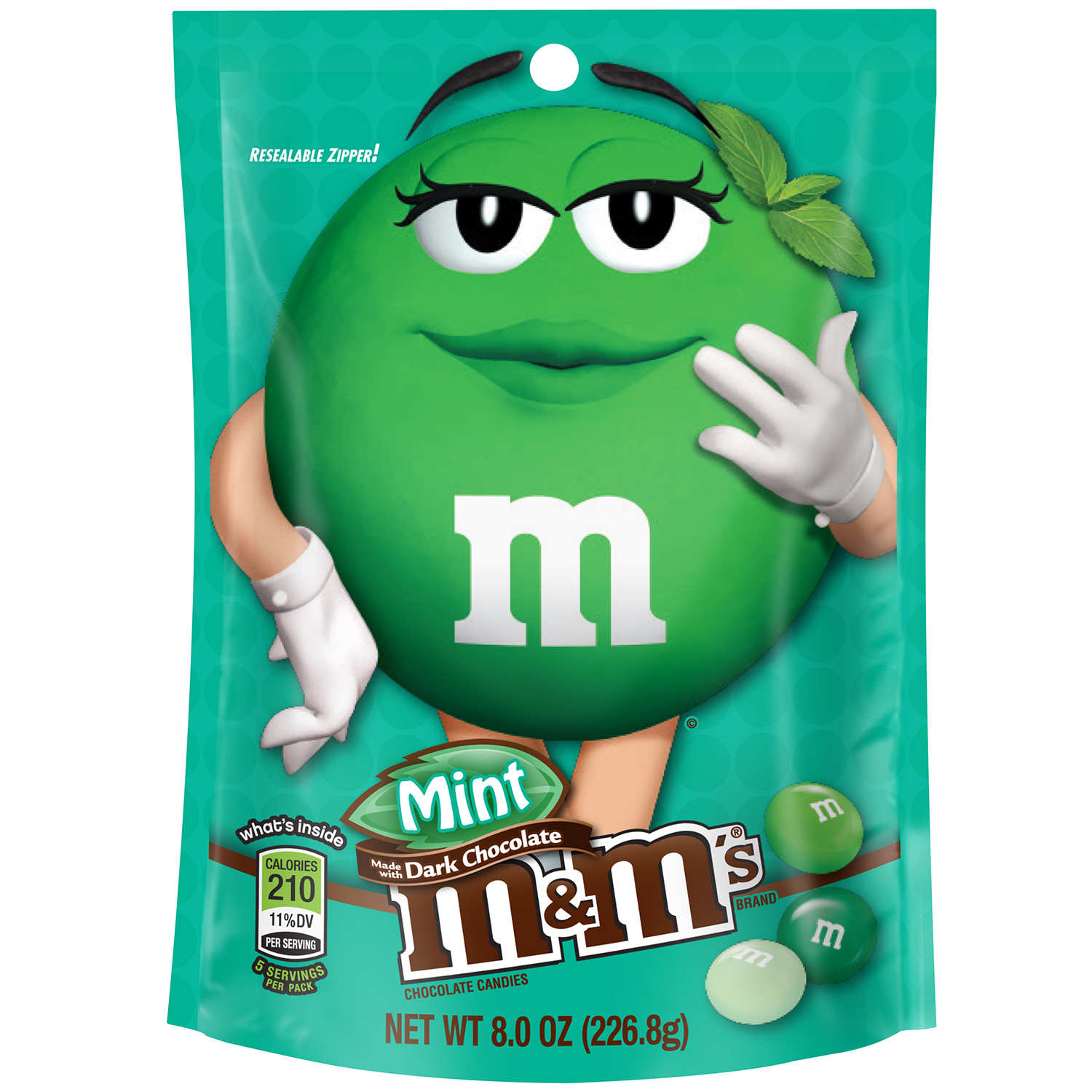 M&M'S Mint Dark Chocolate Candy Bag, 8 oz