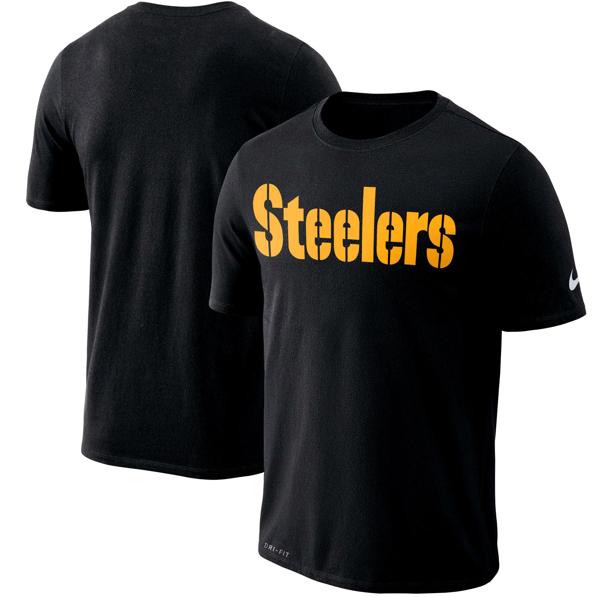 Pittsburgh Steelers Nike Dri-FIT Cotton Essential Wordmark Performance T-Shirt - Black