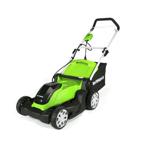 "Click here to buy Greenworks 10Ah 17"" Corded Lawn Mower 2507502 by Sunrise Global Marketing, LLC."