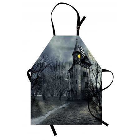 Halloween Apron Halloween Design with Gothic Haunted House Dark Sky and Leafless Trees Spooky Theme, Unisex Kitchen Bib Apron with Adjustable Neck for Cooking Baking Gardening, Teal, by Ambesonne
