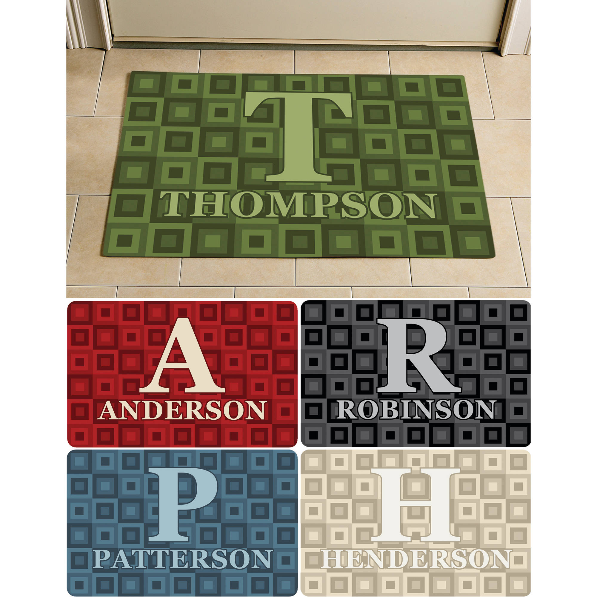 "Personalized Square Initial and Name Doormat, 24"" x 36"", Available in Multiple Colors"