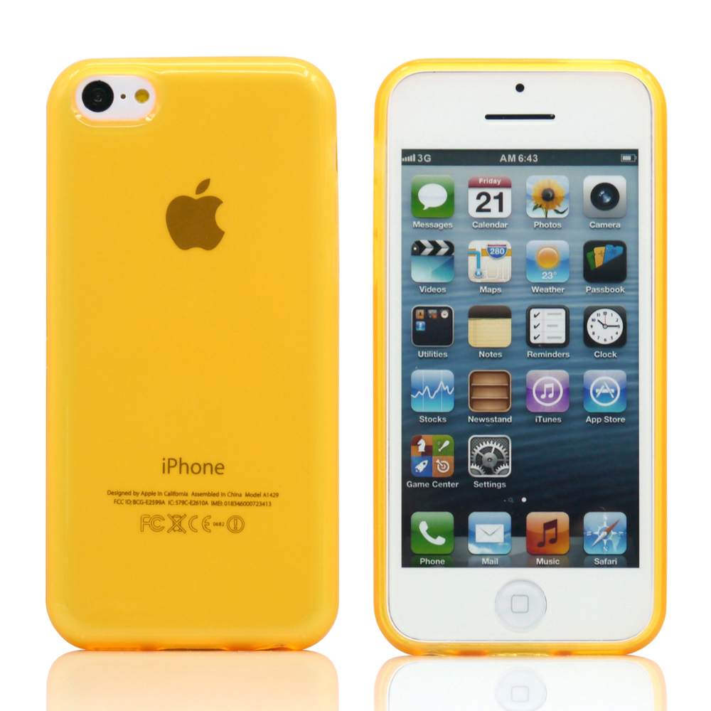For Apple iPhone SE & 5C Yellow Glossy Matte TPU Gel Soft Transparent Case Back Cover Skin