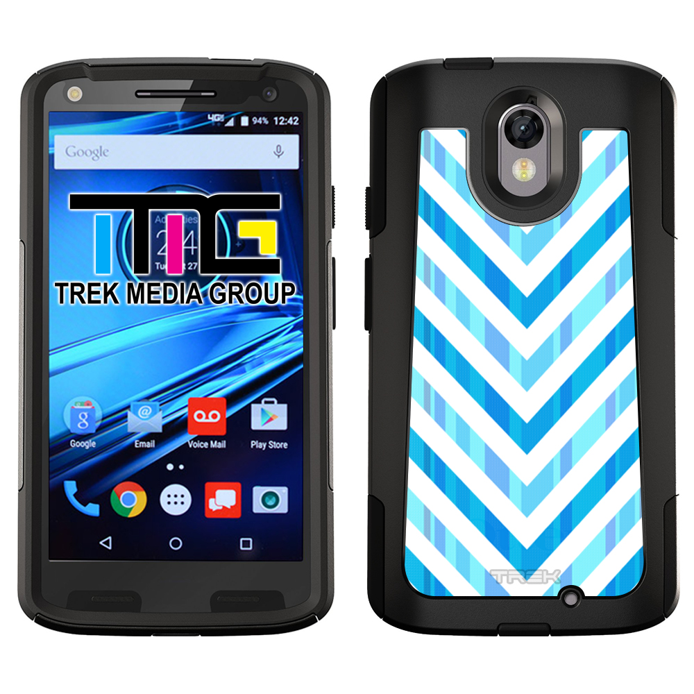 SKIN DECAL FOR OtterBox Commuter Motorola Droid Turbo 2 Case - Blue Striped Chevrons White DECAL, NOT A CASE