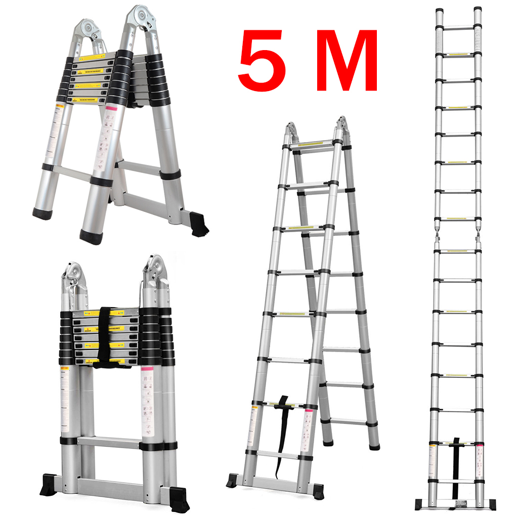 Finether 16.4ft Aluminum Telescoping Telescopic Extension Ladder ...