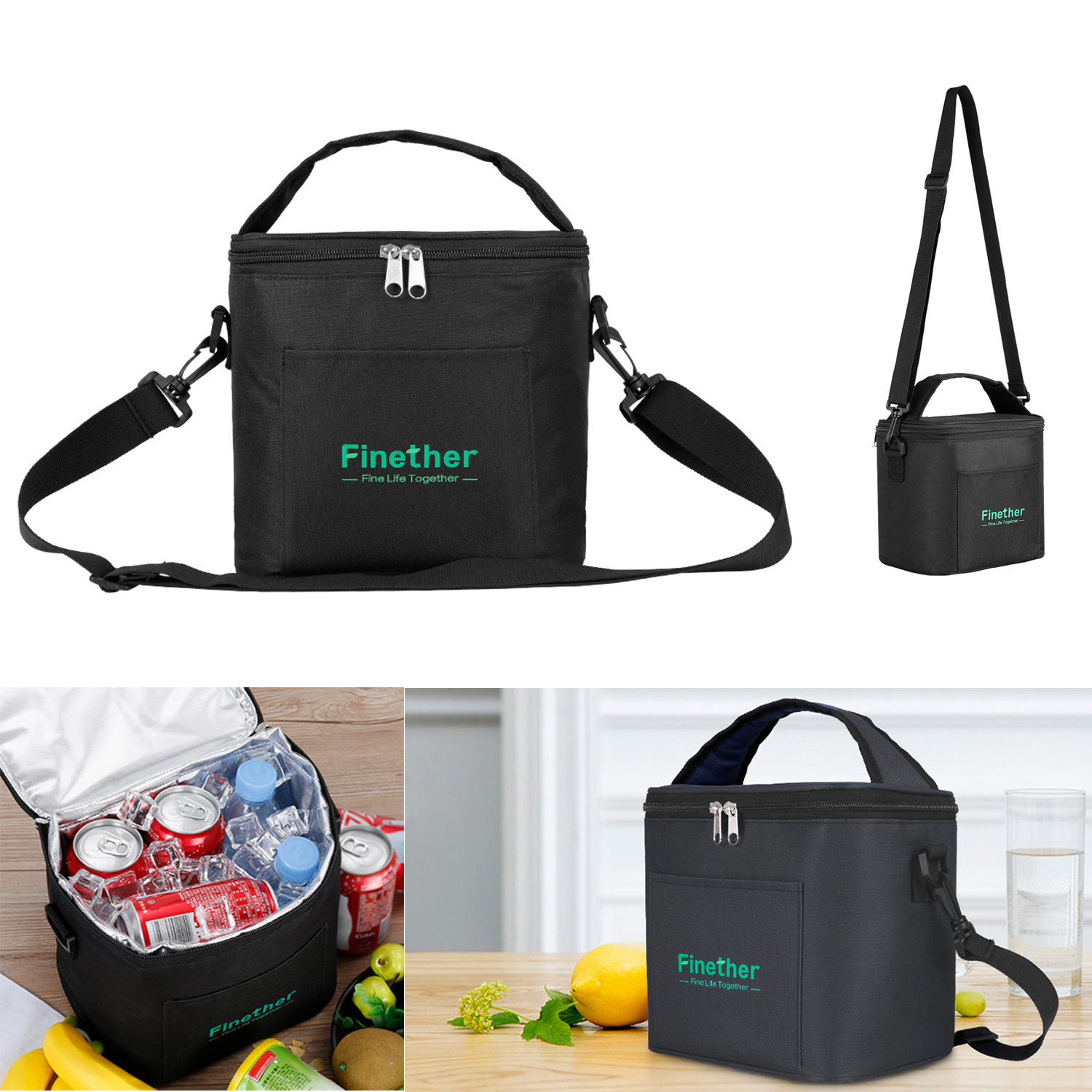 Finether Insulated Lunch Bag Detachable Shoulder Strap - 2 Way Closure Zippers Safe Thermal Tote Lunch Cooler Carry Bags for Adults Men Women