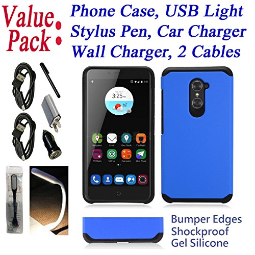 "~Value Pack~ for 6"" ZTE Imperial Max imperialmax DUO 4G LTE Case Phone Case Bumper Shockproof Silicone Edges Hybrid Hard Back Slim Cover Blue"