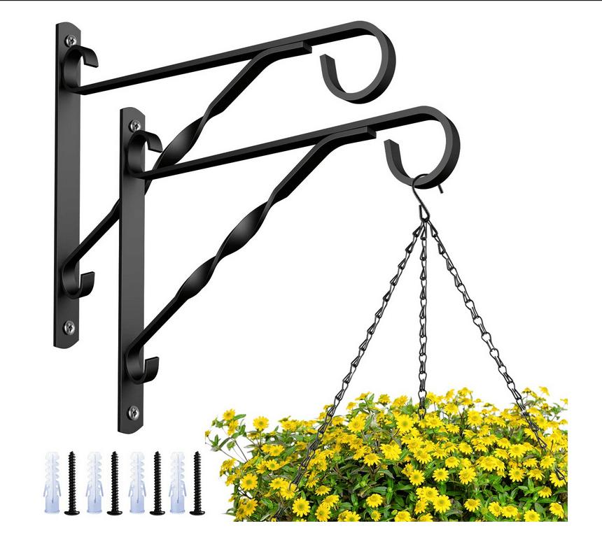 Garneck 4pcs Hanging Plants Brackets 10 Flower Plant Pot Hooks Hangers Outdoor Lawn Iron Bracket for Planter Bird Feeder Lantern Windbell Wind Chimes with Screws