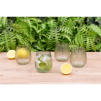 Better Homes & Gardens Leggero Bubble Stemless Plastic Wine Glass, Purple, Set of 4