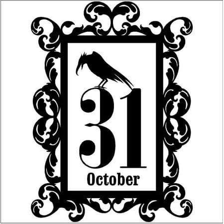 Halloween vinyl decal Frame #15 October 31 Crow portrait (Large - Oct 31 Halloween
