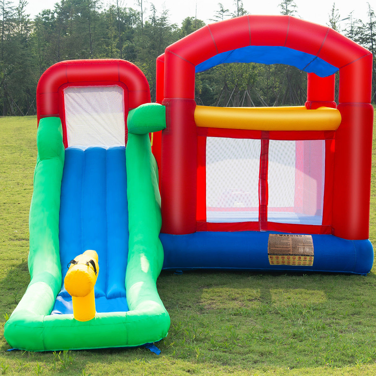 Goplus Inflatable Moonwalk Slide Bounce House Kids Jumper Bouncer Castle W/Storage Bag