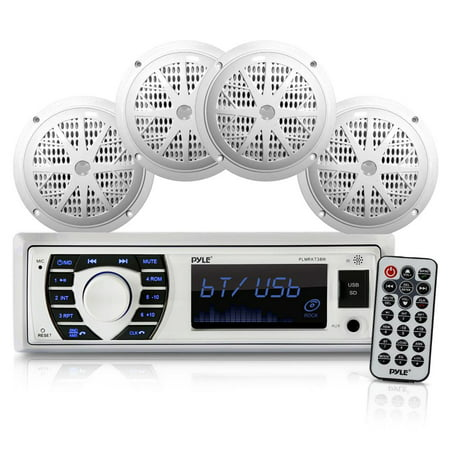 """PYLE PLMRKT38W - Bluetooth Marine Stereo Receiver & Speaker System Kit, Hands-Free Calling, Wireless Streaming, MP3/USB/SD Readers, AM/FM Radio, (4) 6.5"""" Waterproof Speakers (White) (Marine Stereo Systems)"""