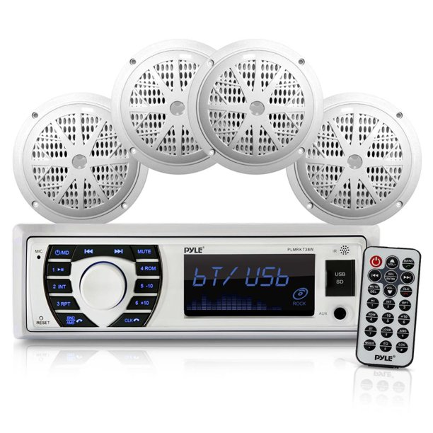"PYLE PLMRKT38W - Bluetooth Marine Stereo Receiver & Speaker System Kit, Hands-Free Calling, Wireless Streaming, MP3/USB/SD Readers, AM/FM Radio, (4) 6.5"" Waterproof Speakers (White)"