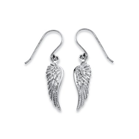 Angel Wing Drop Earrings in .925 Sterling Silver - Angel Wings Earrings