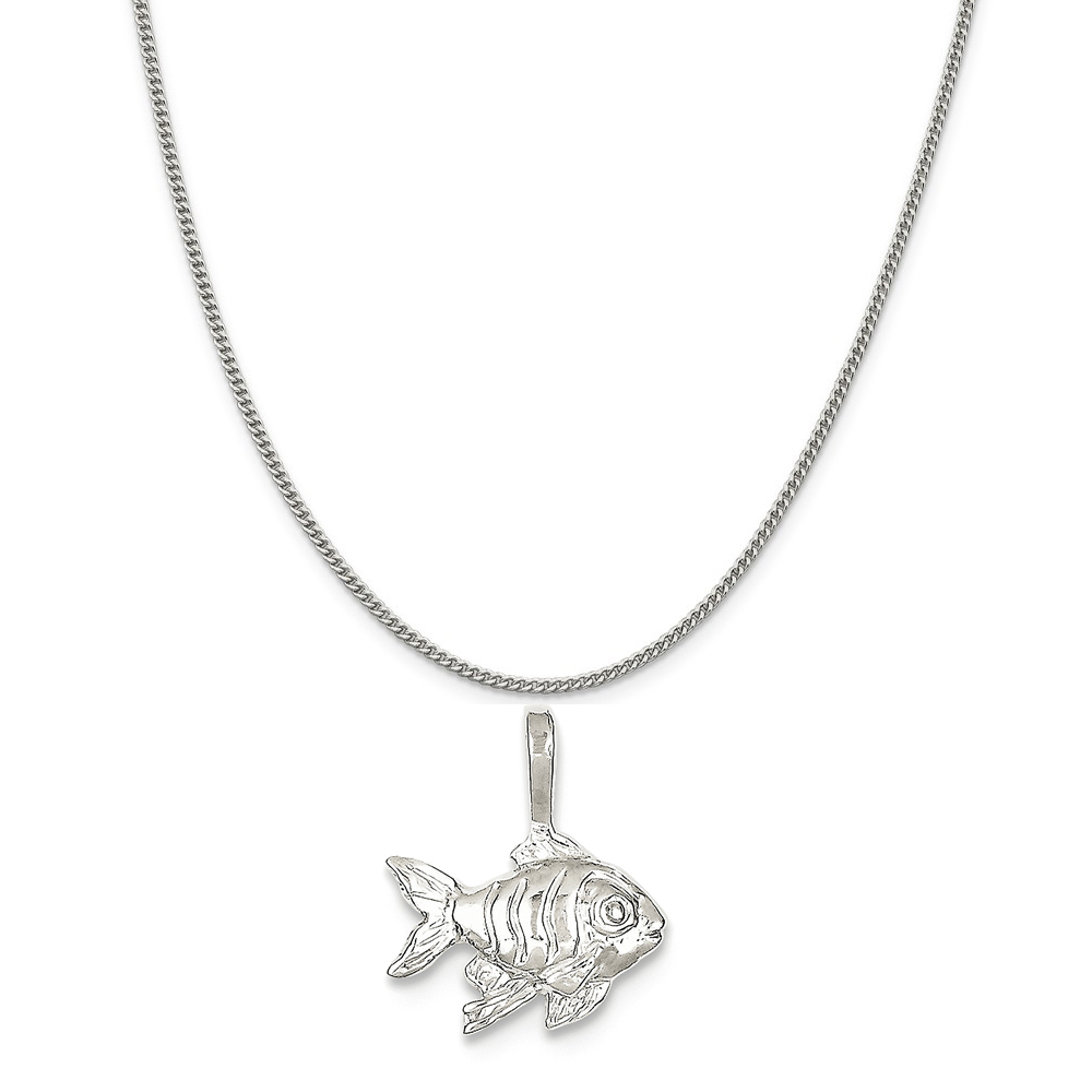 Sterling Silver Fish Charm on a Sterling Silver Curb Chain Necklace, 18""