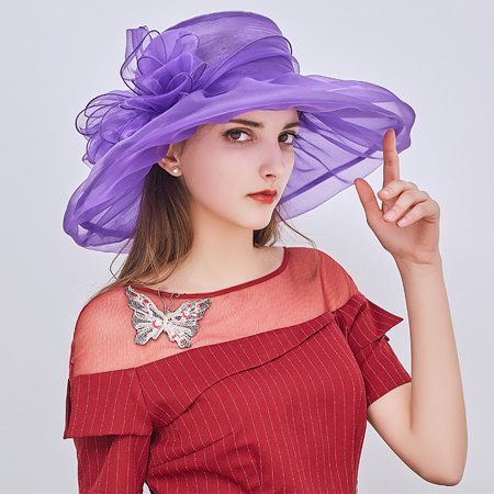 Sun Visor Hat, Floppy Elegant Summer Beach Kentucky Derby Wide Brim Church Hat UV Protection Cap for Wedding Women Girls Ladies(Purple) - Wholesale Derby Hats