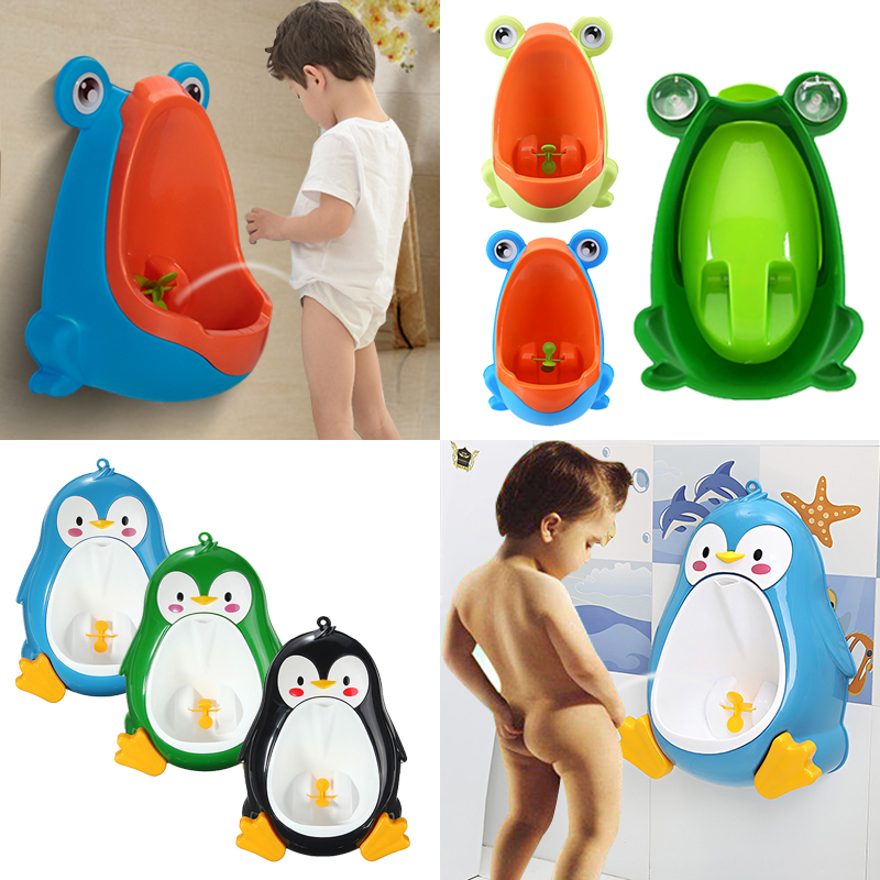 Cute Frog Penguin Potty Training Urinal Toilet Urine Train Froggy Potty for Children Kids Toddler Baby Boys Portable Plastic Male Urinals Pee Trainer Funny Aiming Target