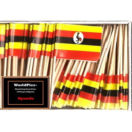 One Box Uganda Toothpick Flags, 100 Small Republic of Uganda or Ugandan Cupcake Flag Toothpicks or Cocktail Picks - Halloween Cupcake Flags