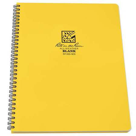 RITE IN THE RAIN 333-MX Maxi Notebook,42 Sheets,Yellow Cover G3780248