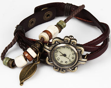 Handmade Leather Tree Leaf Womens Watch