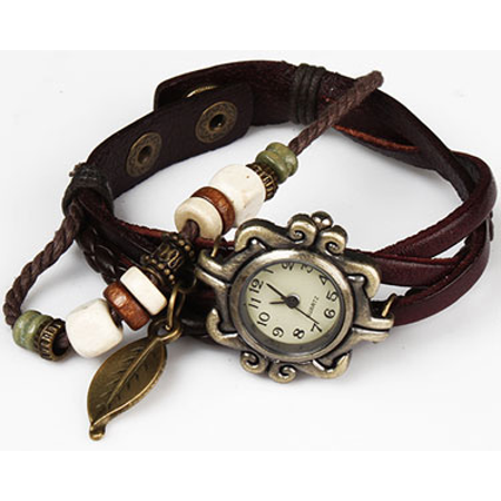 Handmade Leather Tree Leaf Womens Watch ()