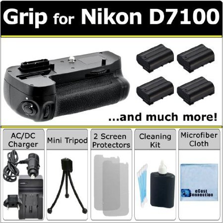 Battery Grip for Nikon D7100 DSLR Camera, (4) EN-EL15 Long-Life Batteries, Charger w/ Travel Adapter & eCostConnection Starter Kit - image 5 de 5