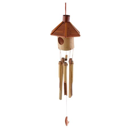 Hexagon Pavilion Bamboo Moon Pendant Wind Chime Wind Bell Home Office School Hotel Decorations