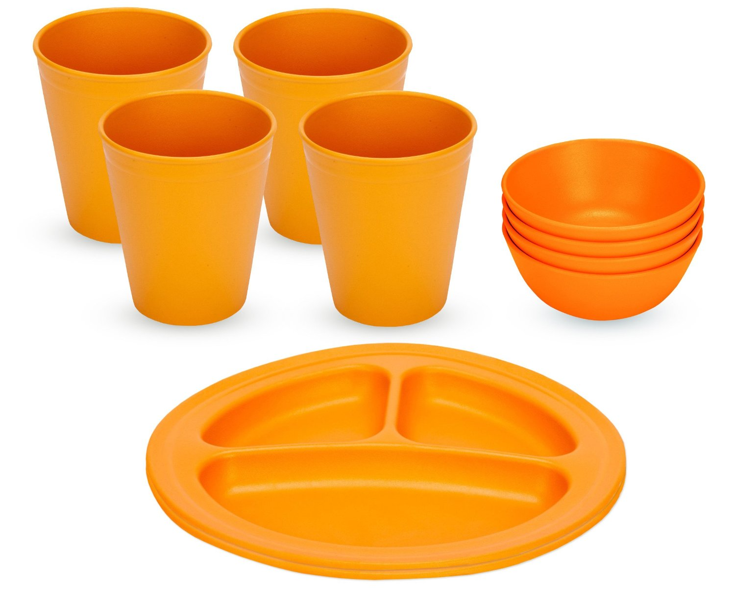 Green Eats Divided Plates with Snack Bowls & Tumblers, Orange by Green Eats