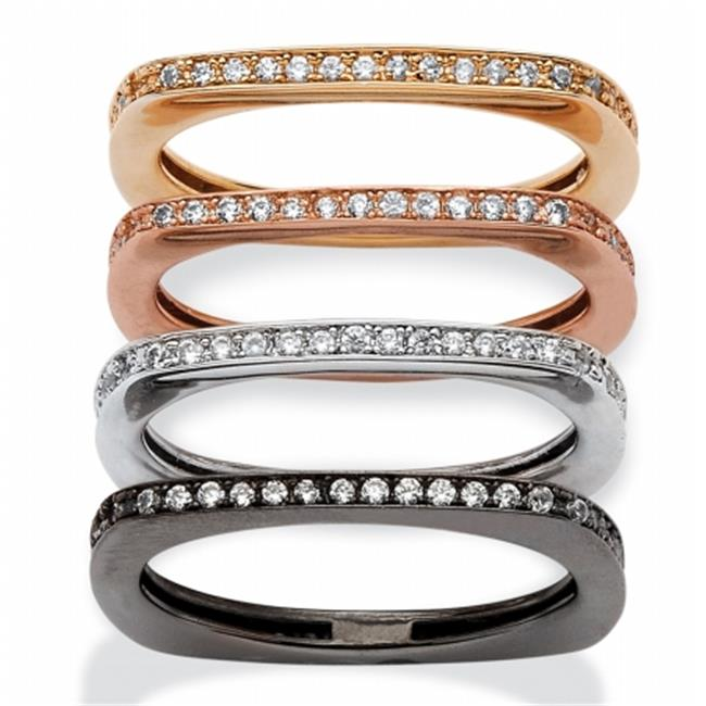 Palm Beach Jewelry 562028 0. 90 TCW 4 Piece Set of Squared-Back Cubic Zirconia Eternity Bands, Black, Rose, Gold and