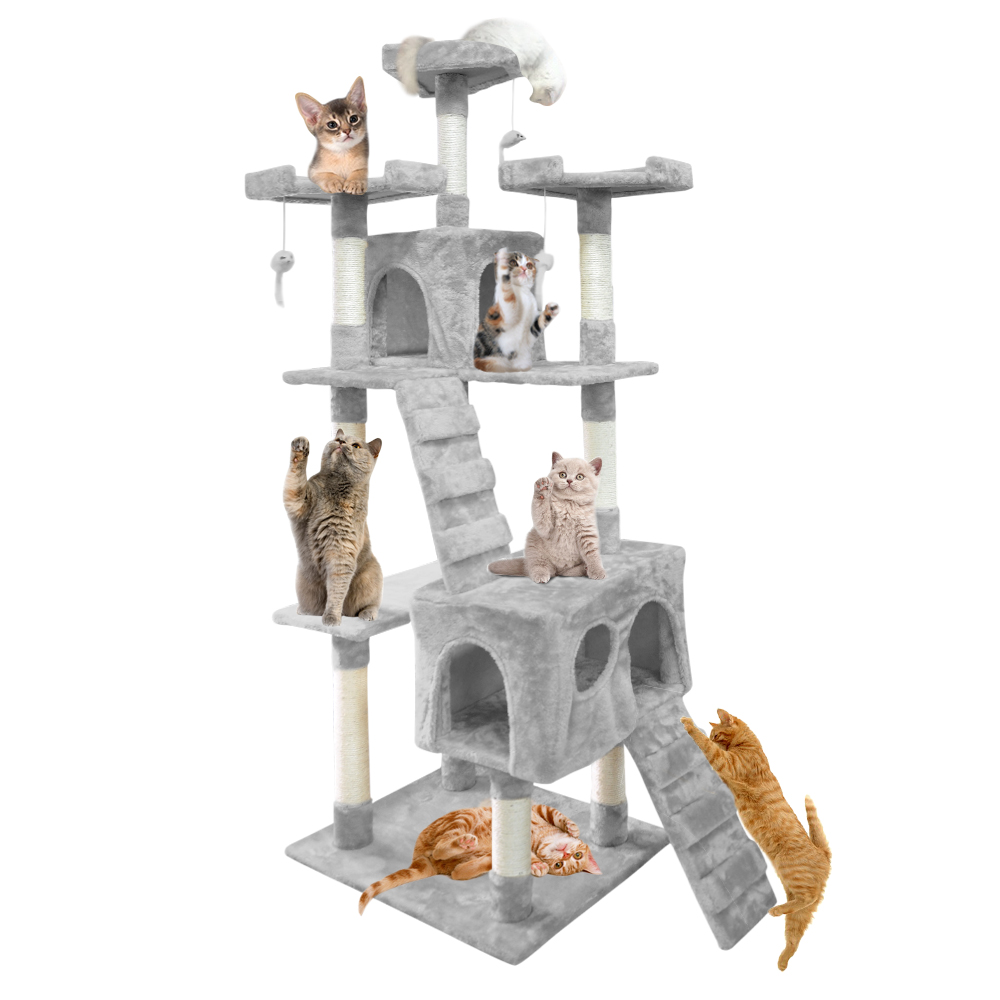 71 Inch Heavy Duty Cat Scratching Post Tree Gym House Condo Furniture Scratcher Grey by