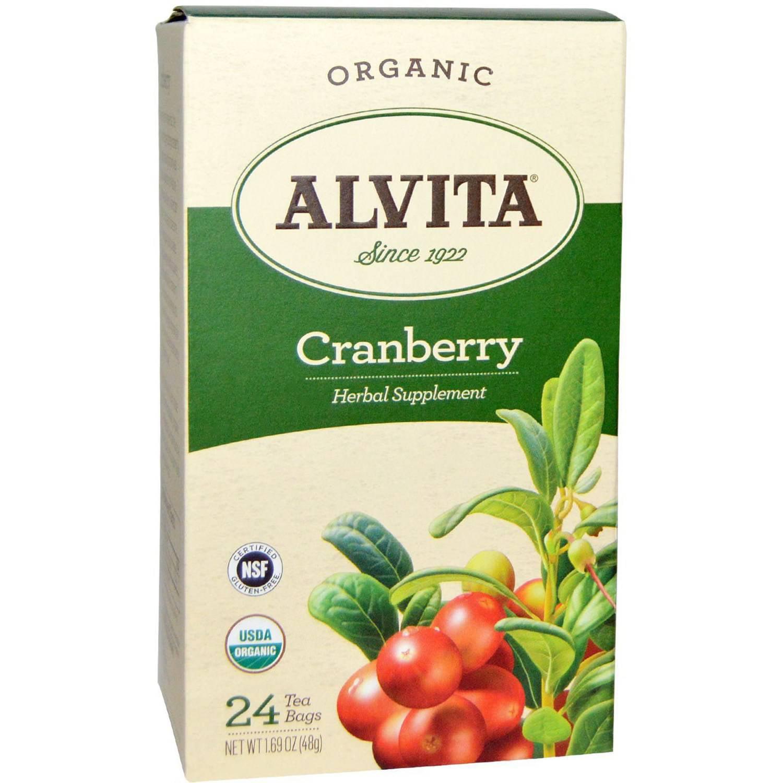 Alvita Organic Cranberry Herbal Supplement Tea, 24 count, 1.69 oz, (Pack of 3)
