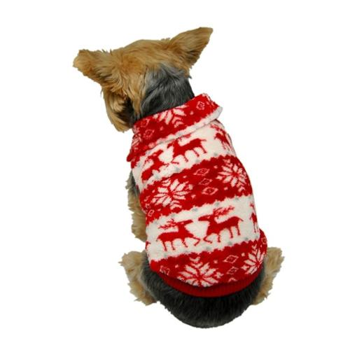 Red Puppy Dog Xmas Reindeer Snowflake Fleece Sweater Hoody Pullover Warm Apparel - Medium