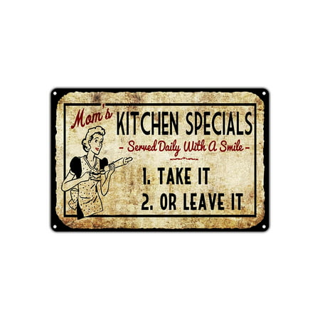 "Mom's Kitchen Specials Take It Or Leave It Vintage Retro Metal Wall Decor Art Shop Man Cave Bar Aluminum 8""x12"" Sign"