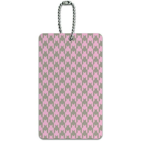 Preppy Houndstooth Pink Gray ID Tag Luggage Card for Suitcase or (Preppy Brands Uk)