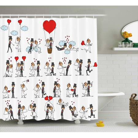 Wedding Decorations Shower Curtain, Cartoon Style Couple on Clouds with Hearts Cute Love Themed, Fabric Bathroom Set with Hooks, 69W X 70L Inches, Red Mint Green Grey, by Ambesonne