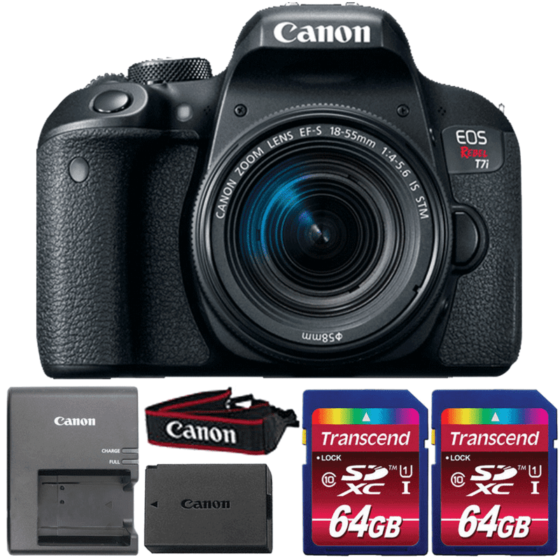 canon eos rebel t7i dslr camera with 18 55mm is stm lens and two 64gb memory cards. Black Bedroom Furniture Sets. Home Design Ideas