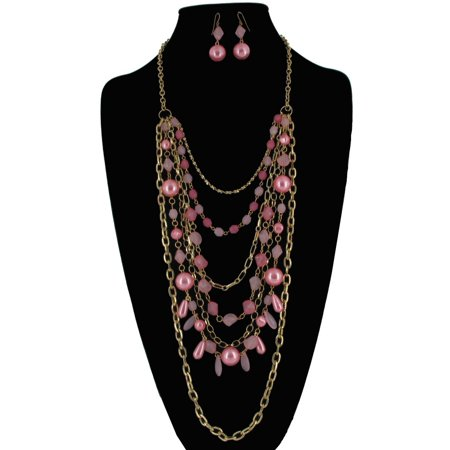 Pink Beaded Big Statement Bib Layered Silver Tone Chain Necklace and Drop Earrings 2 Piece Jewelry Set