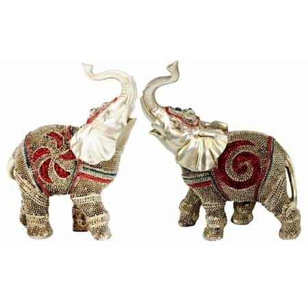 Elephant Statue Figurine (Feng Shui Pair of 2 ~ 5