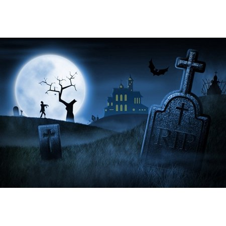 MOHome Polyster 7x5ft Spooky Halloween Night Foggy Cemetery Haunted House Photography Backdrops Indoor Studio Backgrounds Photo - Halloween Foggy Night