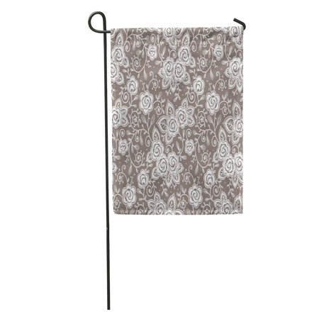 SIDONKU Pink Pattern Roses Lace Brocade Small Beauty Bud Color Colored Garden Flag Decorative Flag House Banner 12x18 inch