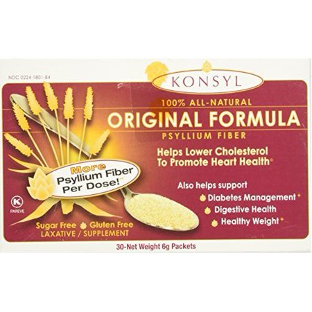 Konsyl Laxative Sugar Free Natural Fiber Supplements Powder Packets, 30 Single Dose