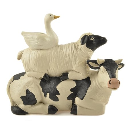 Stacked Dairy Cow Sheep and Duck 4 x 4.5 Resin Stone Figurine Decoration, Made of resin polymer stone material By Blossom - Christmas Buckets
