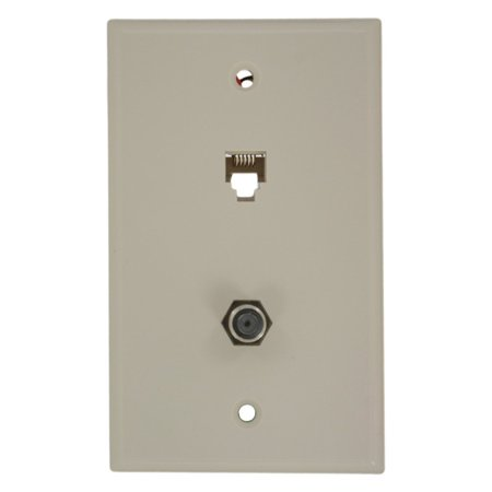- Leviton 40258-T Light Almond Combination Telephone Jack and F-Connector Wall Plate