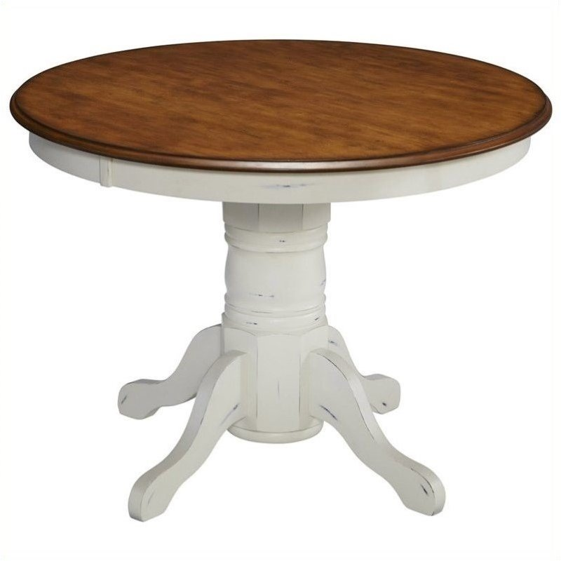 Bowery Hill Round Pedestal Dining Table in Oak and Rubbed White by Bowery Hill