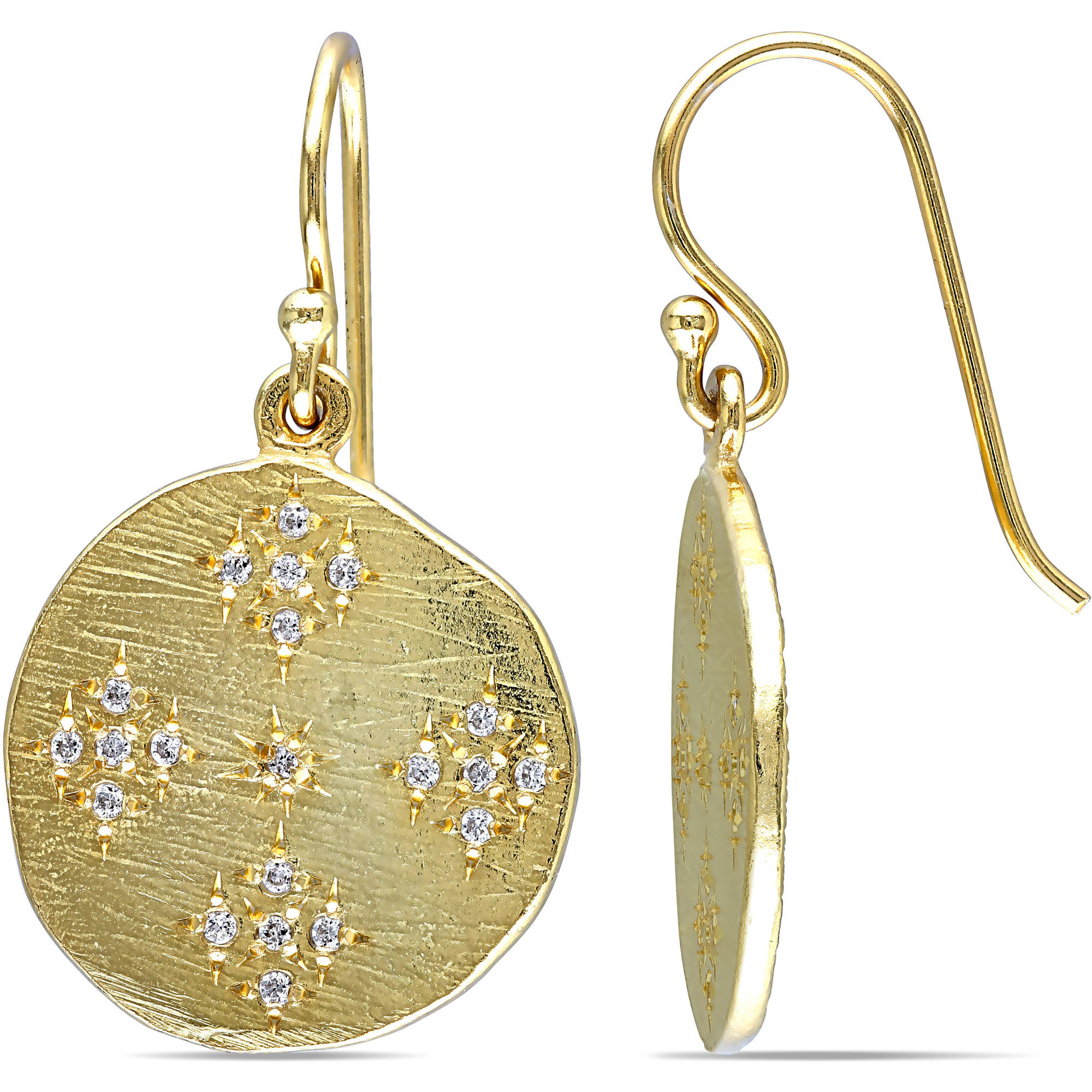 Miabella 2/5 Carat T.G.W. Cubic Zirconia Yellow Rhodium-Plated Sterling Silver Dangle Earrings