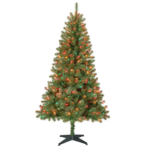 Holiday Time Pre-Lit 6.5' Madison Pine Artificial Christmas Tree ...
