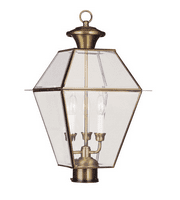 Outdoor Post 3 Light with Clear Beveled Glass Antique Brass Finish size 22 in 180 Watts - World of Crystal